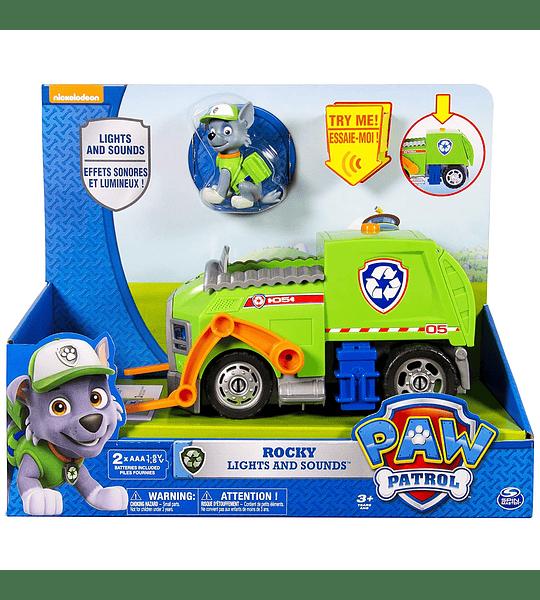 Paw Patrol - Rocky Camion de reciclaje de luces y sonidos