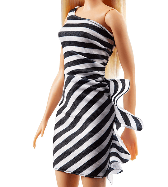 Barbie Fashionista rubia con vestido a rayas (Mattel )