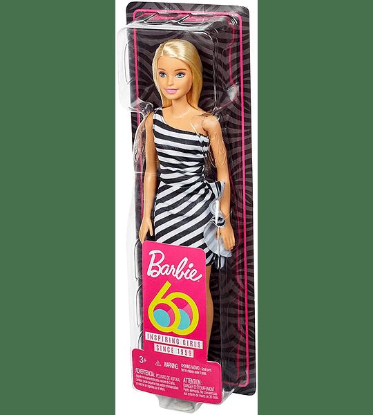 Barbie Fashionista Muñeca rubia con vestido a rayas (Mattel )