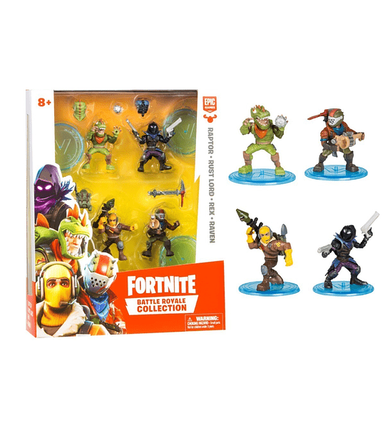 Fortnite - Set 4 Figuras, Raptor, Rust Lord, Rex, Raven edición limitada