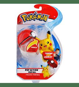 Pokemon - Pop Action Poké Lanzador de bolas, viene con el lanzamiento Pikachu Mini Peluche y PokeBall