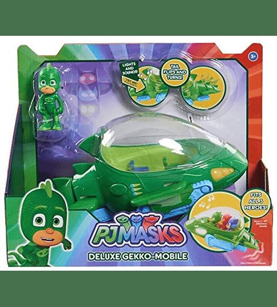 PJ Masks- Vehículo Deluxe, Gekko Móvil y Gekko Bandai, Color Verde
