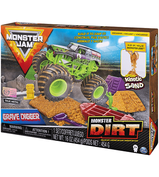 Monster Jam  - Grave Digger Monster Dirt Deluxe Set escala 1:64