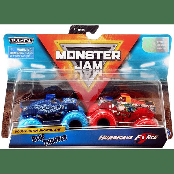 Monster Jam, Blue Thunder vs. Hurricane Force Troquelado Monster Trucks, escala 1:64, 2 unidades