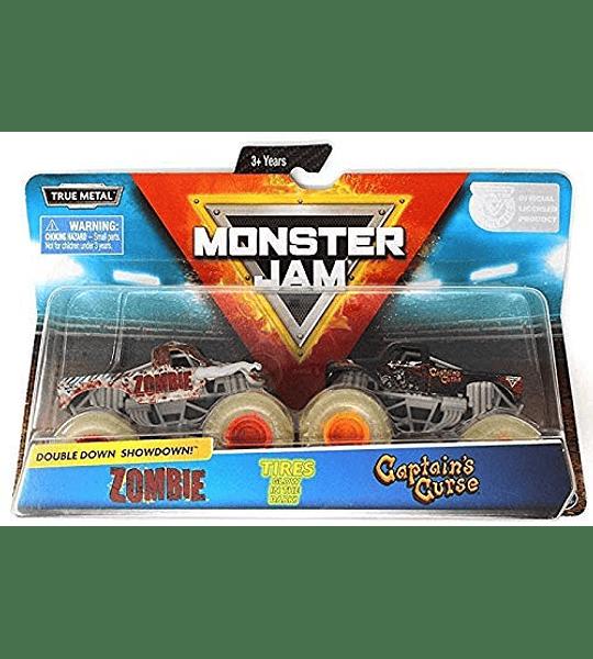 Monster Jam, oficial zombie vs. capitán cortina troquelado Monster camiones, escala 1:64, 2 unidades