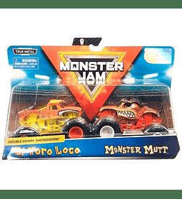 Monster Jam Double Down Showdown El Toro Loco y Monster Mutt Escala 1:64,  2 unidades