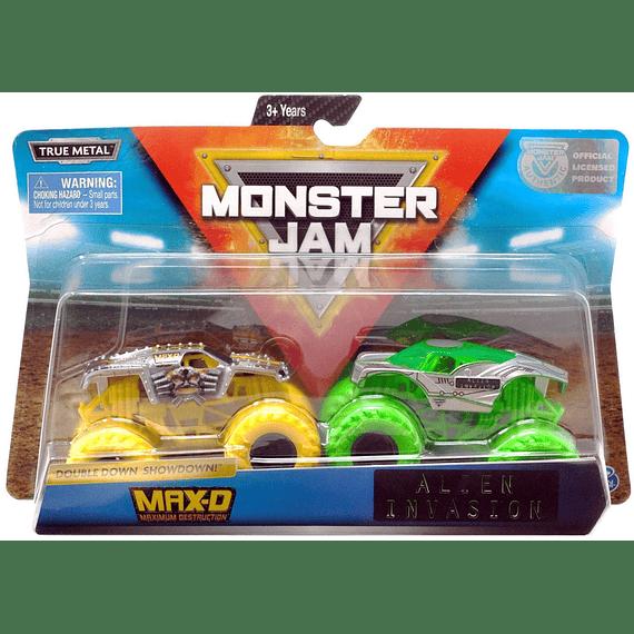 Monster Jam Double Down Showdown Max-D e Invasión de Alien escala 1:64, 2 Unidades