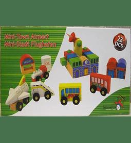Aeropuerto de madera 23 Piezas