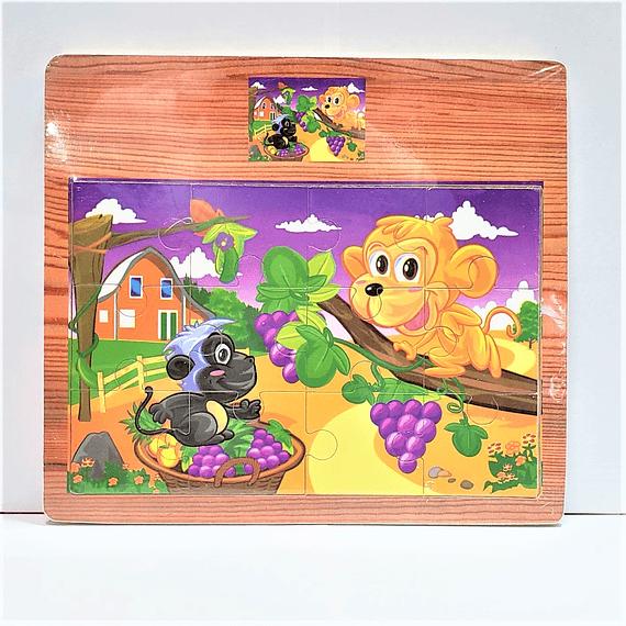 Rompecabeza de madera monos