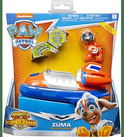 Paw Patrol Zuma Mighty Pups Super Paws vehículo de lujo con luces y sonidos
