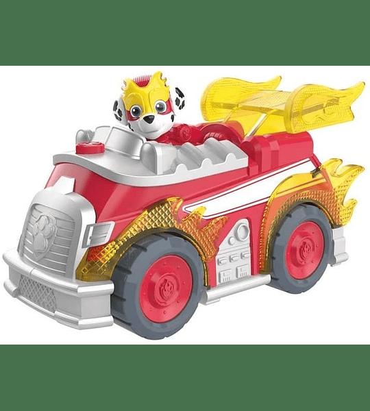 Paw Patrol Marshall Mighty Pups Super Paws vehículo de lujo con luces y sonidos