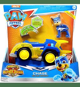 Paw Patrol Chase Mighty Pups Super Paws vehículo de lujo con luces y sonidos