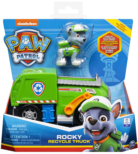Paw Patrol Rocky con camión de reciclaje transformador