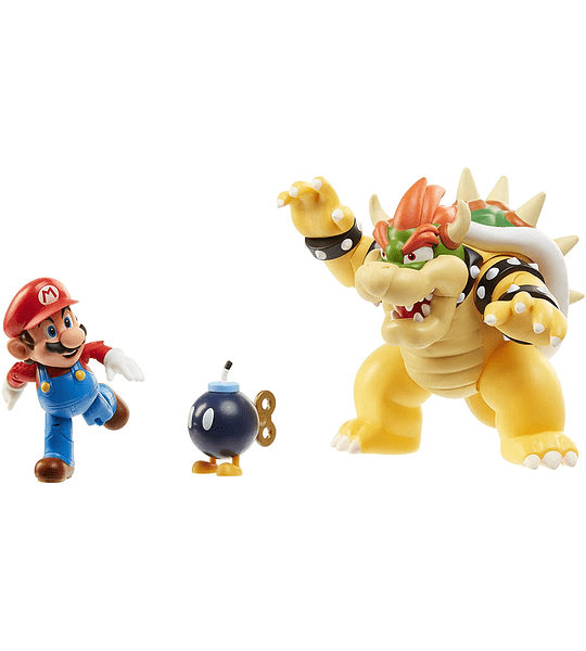 Bowser Vs Mario Diorama Super Mario Pack 3 Figuras