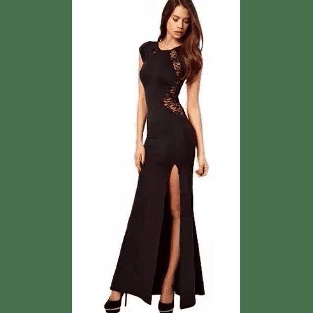 Vestido de Fiesta Largo Ajustado Con Transparencia Casual Talla Plus Kadrihel