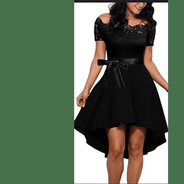 Vestido Asimétrico Cola Corta Con Formas Tallas Plus Kadrihel