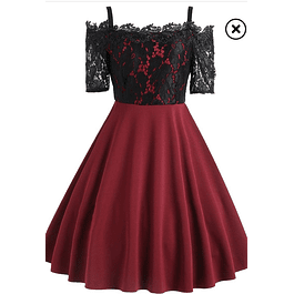 Vestido Corto Acampanado Liso Blusa Con Forma De Encaje Manga 3/4 Talla Plus Kadrihel