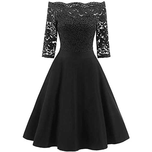 Vestido Corto Blusa De Encaje Con Forma Falda Lisa De Fiesta Gala Graduación Talla Plus Kadrihel