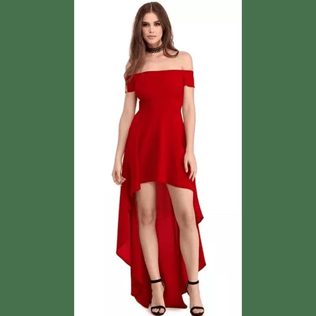 Vestido de Fiesta  Graduación Asimétrico Cola Larga Manga Corta Sin Hombros  Talla Plus Kadrihel