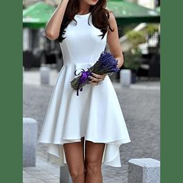 Vestido De Fiesta Cola Corta Asimétrico Sin Manga Boda Civil Matrimonio Talla Plus Kadrihel
