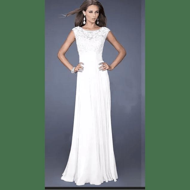 Vestido Largo Falda De Gasa Blusa De Encaje Con Mini Manga Ideal Para Matrimonio Boda Civil Talla Plus Kadrihel