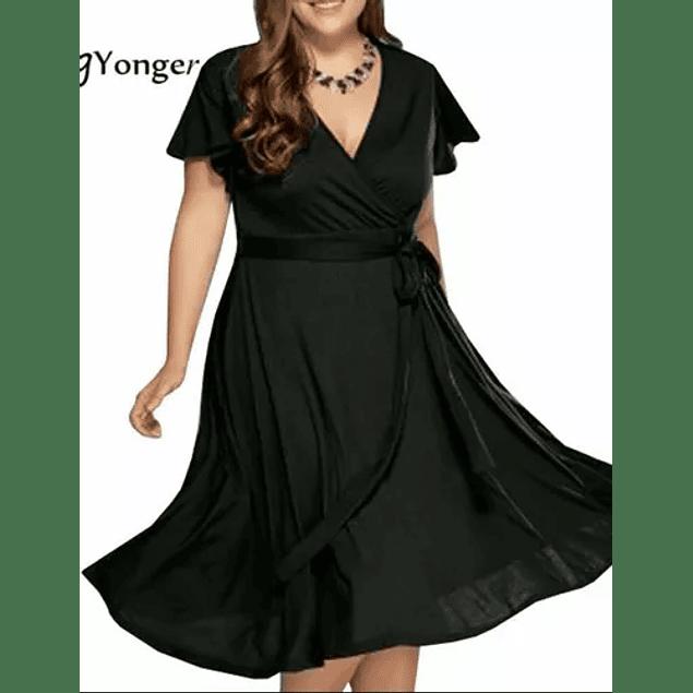 Vestido Corto Acampanado Blusa Cruzada Mangas Con Vuelo Semi Formal Talla Plus Kadrihel