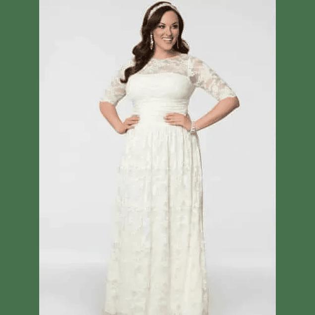 Vestido Largo Todo De Encaje Transparencia En Hombros De Gala Matrimonio Boda Civil Talla Plus kadrihel