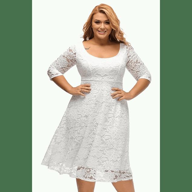 Vestido de Encaje Semi Acampanado Ideal para Matrimonio Talla Plus Kadrihel