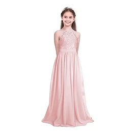 Vestido Largo de Niña Tipo Princesa Blusa De Encaje Sin Mangas Ideal Para Fiesta Bautizo Comunión  Kadrihel