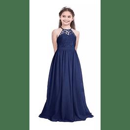 Vestido Largo de Niña Tipo Princesa Blusa De encaje Sin Mangas Ideal Para Fiesta y Gala kadrihel
