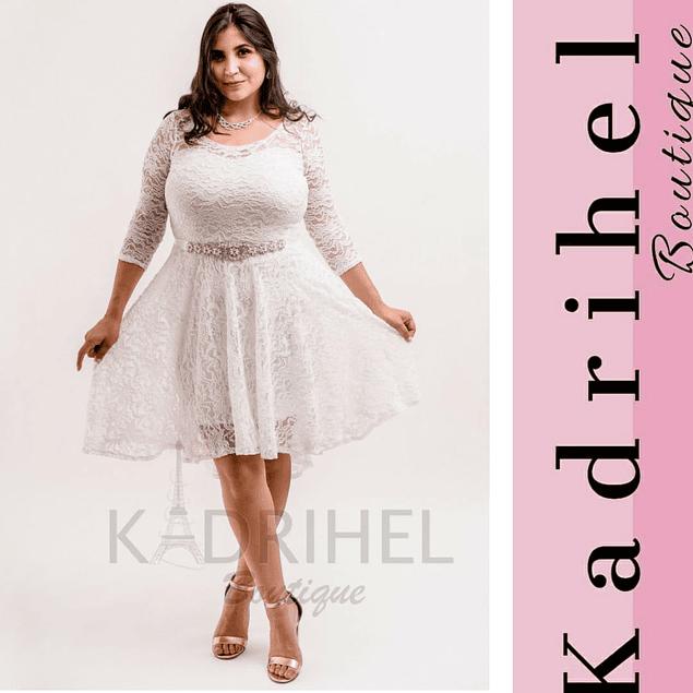 Vestido Acampanado Todo de Encaje,  Ideal Para boda Tallas Plus Kadrihel. (No incluye cinturón)