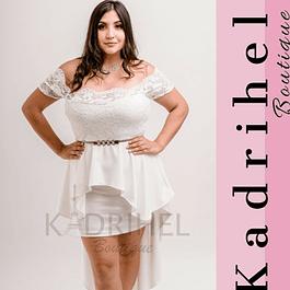 Vestido Asimétrico Corto, Falda Peplum, Ideal Para Boda Tallas Plus Kadrihel. (No incluye cinturon)