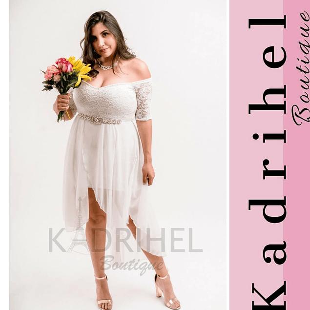 Vestido Asimétrico Corto, Falda Larga, Ideal Para Boda, Matrimonio Tallas Plus Kadrihel. (No incluye cinturon)