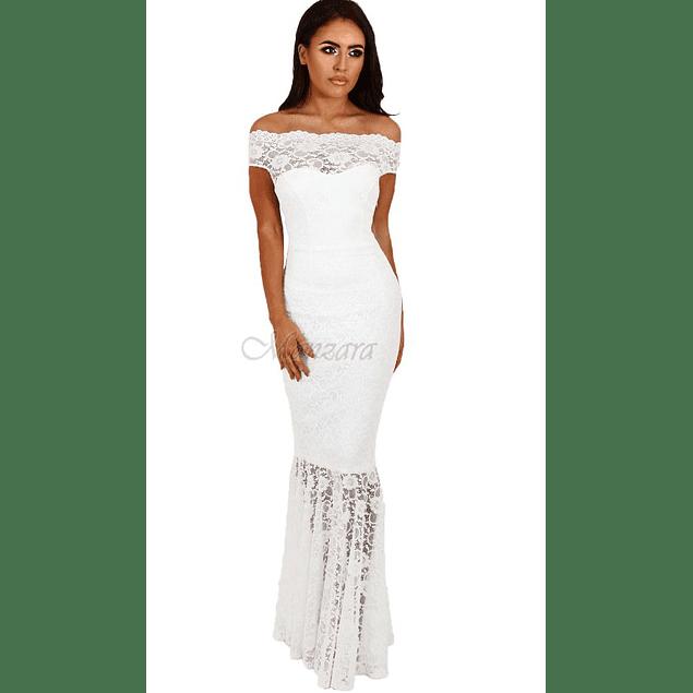 Vestido Largo Sirena Con forma todo de Encaje Tallas Plus Kadrihel