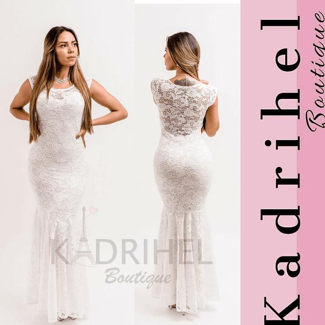 Vestido Largo Corte Sirena Todo De Encaje, Ideal Para Matrimonio Kadrihel.