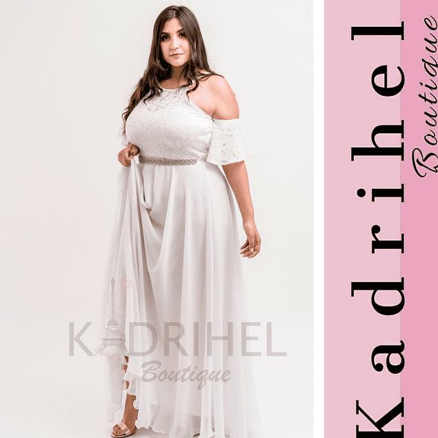 Vestido Largo Con Abertura En Hombros Ideal Para Bodas Kadrihel. (No incluye cinturon)