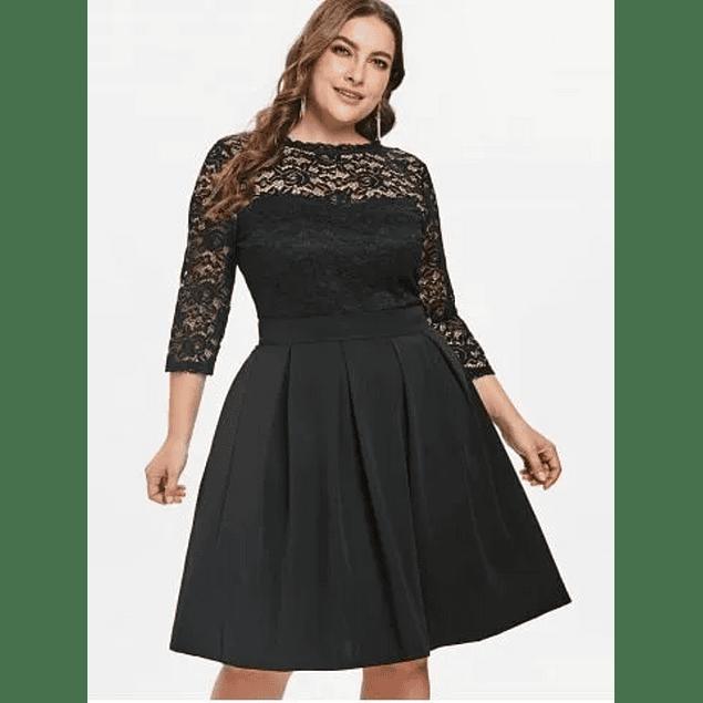 Vestido Corto Blusa De Encaje Falda Lisa Con Tachones Talla Plus kadrihel