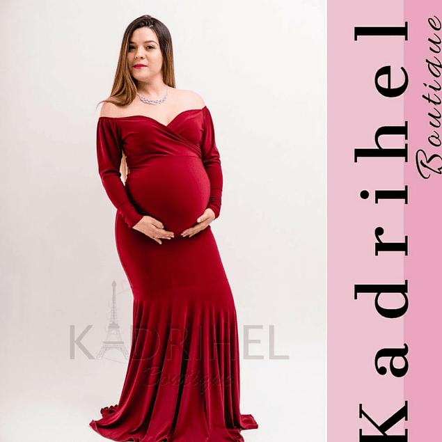 Vestido Largo De Embarazada Manga Larga Cuello Forma De Corazón Kadrihel.