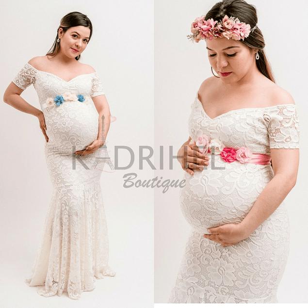 Vestido Largo De Embarazada Corte Sirena Todo De Encaje Con Mini Manga Kadrihel. (No incluye cinturon)