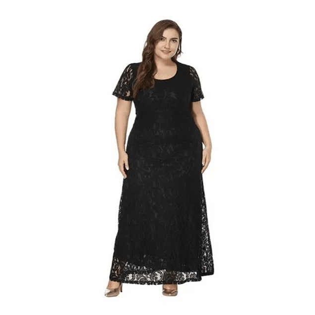 Vestido Largo Todo De encaje Cuello Redondo Ideal Para Matrimonio Boda Civil Talla Plus Kadrihel
