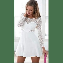 Vestido Corto Acampanado Casual  falda Lisa Blusa de Encaje Manga Larga  Tallas Plus Kadrihel