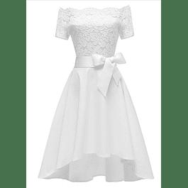 Vestido Asimétrico Cola Corta Blusa de Encaje Hombros Descubiertos Con Forma Ideal Para Matrimonio Tallas Plus Kadrihel