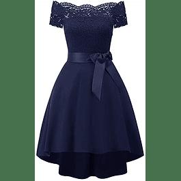 Vestido Asimétrico Cola Corta Blusa de Encaje Hombros Descubiertos Con Forma de Fiesta Gala y Graduación Tallas Plus Kadrihel