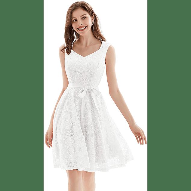 Vestido Corto Acampanado Sin Mangas Todo de Encaje Ideal Para Matrimonio Y Boda Civil  Talla Plus Kadrihel