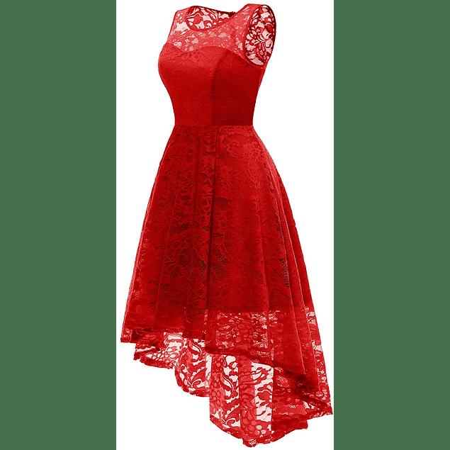 Vestido Asimétrico Todo de Encaje Cuello Redondo Forro Corazón  Tallas Plus Kadrihel