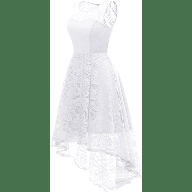 Vestido Asimétrico Todo de Encaje Cuello Redondo Forro Corazón Ideal Para Matrimonio y Boda Civil Tallas Plus Kadrihel