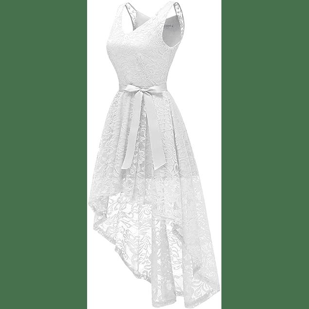 Vestido Asimétrico Cuello en V Todo de Encaje Transparencia en Hombros Ideal Para Boda Civil y Matrimonio Tallas Plus Kadrihel