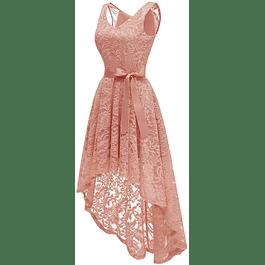 Vestido Asimétrico Cuello en V Todo de Encaje Transparencia en Hombros de Fiesta Gala y Boda Civil  Tallas Plus Kadrihel