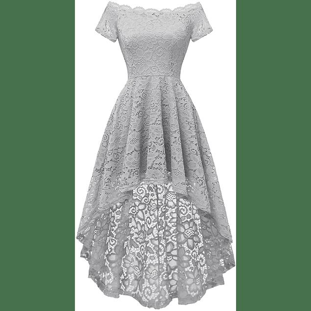 Vestido Asimétrico Hombros Descubiertos Todo de Encaje Ideal Para Boda Civil y Matrimonio Tallas Plus Kadrihel