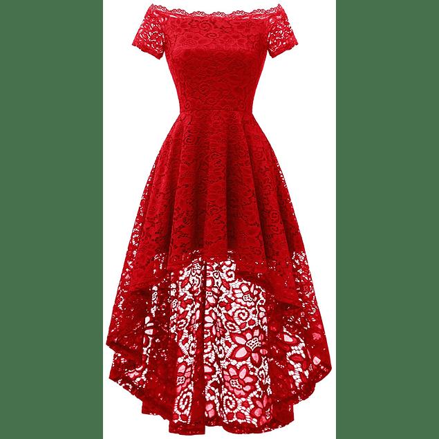 Vestido Asimétrico Hombros Descubiertos Todo de Encaje Ideal Para Fiesta Gala Graduación Tallas Plus Kadrihel